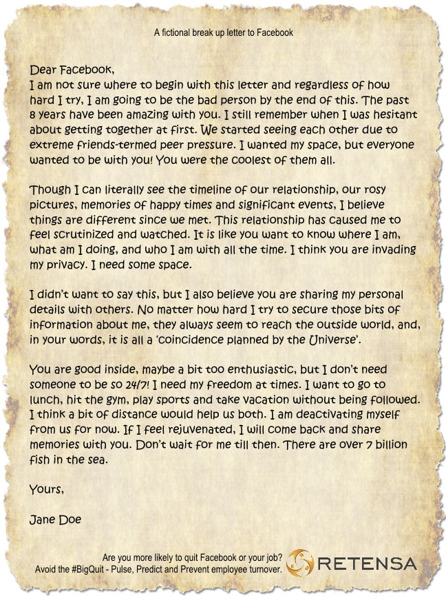 Retensa Break Up Letter Facebook